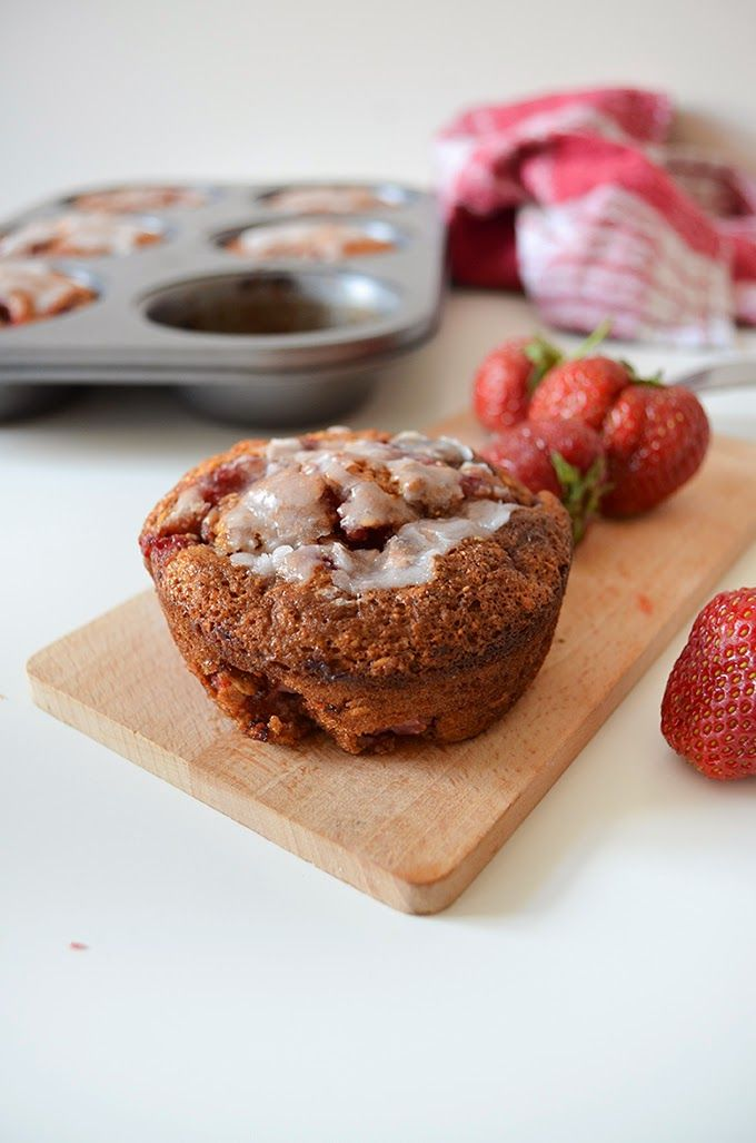 STRAWBERRIES MUFFINS :  old fashioned oats  & all-purpose flour with honey and strawberries. Give it a try!