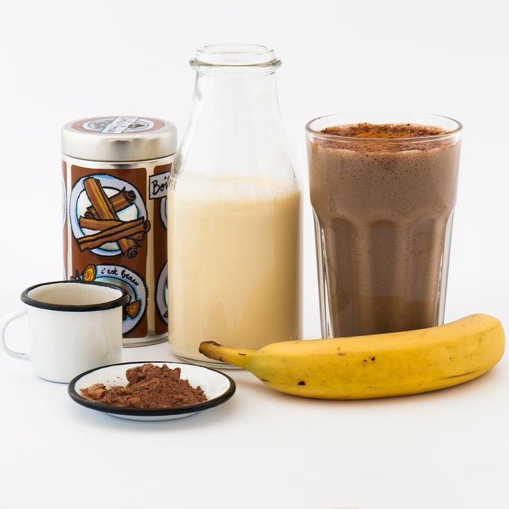 Banana Soya Latte To make two for you and a friend: 2 bananas, 450ml soya milk, 4 tablespoons espresso  and 8 ice cubes. Dust over with some cocoa powder and cinnamon.