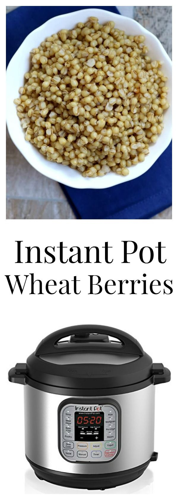 Instant Pot Wheat Berries–tender, chewy wheat berries cooked in minutes in your pressure cooker. I like to use them in salads, chili or spaghetti sauce.