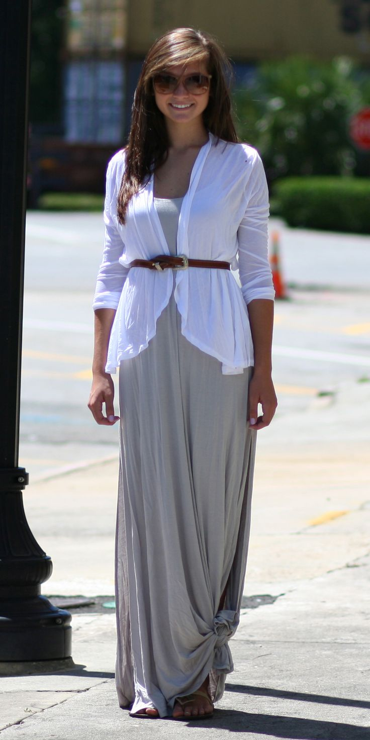 Transition Outfit: Grey Maxi Dress (knotted) & White Tissue Cardigan (belted) - Get the look @ Wild Souls