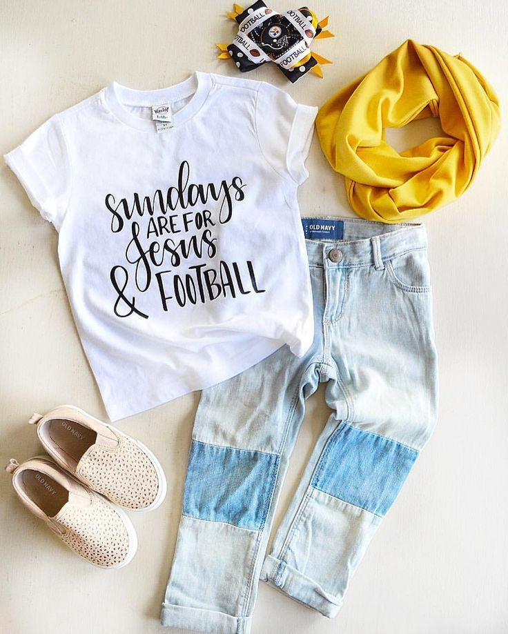 Sunday's are for football + Jesus! Toddler girl. Graphic tee. Football tee, Jesus shirt. Toddler fashion. Steelers football. Women, Men and Kids Outfit Ideas on our website at 7ootd.com #ootd #7ootd