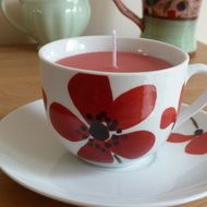 Recycled candle in a Poppy design tea cup - vanilla - £8.00