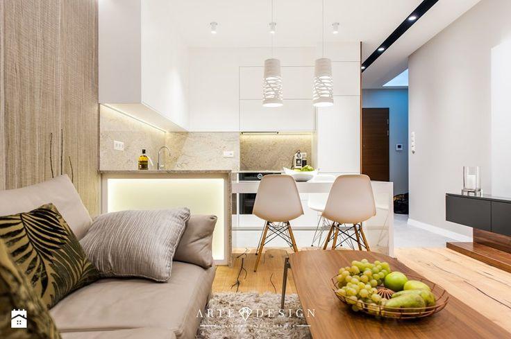Mieszkanie Nowe Orłowo - Mała średnia otwarta kuchnia w kształcie litery l w kształcie litery u w aneksie z wyspą, styl nowoczesny - zdjęcie od Arte Dizain