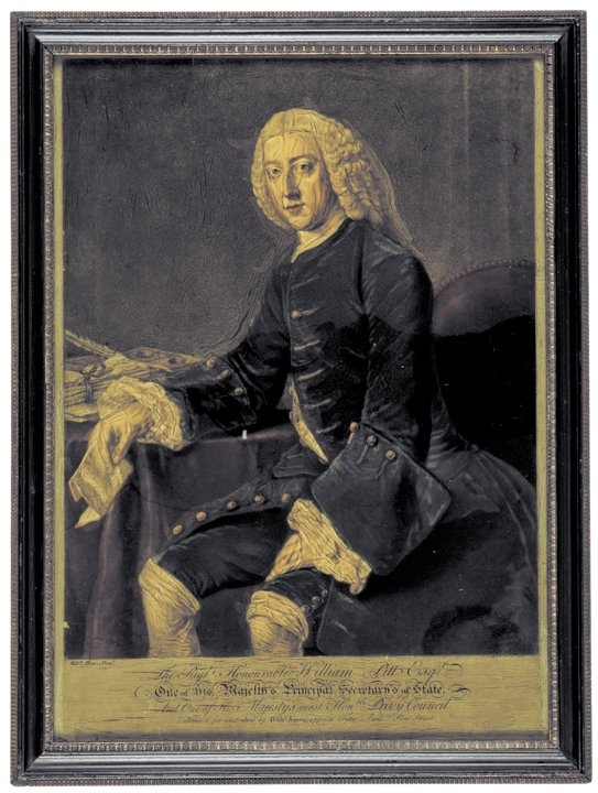 "Reverse Painting on Glass of ""William Pitt Esqr."""