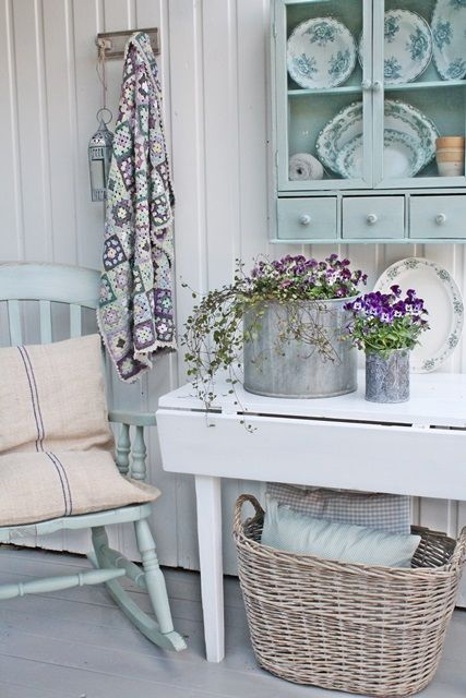 Cottage #Porch in blue and white.