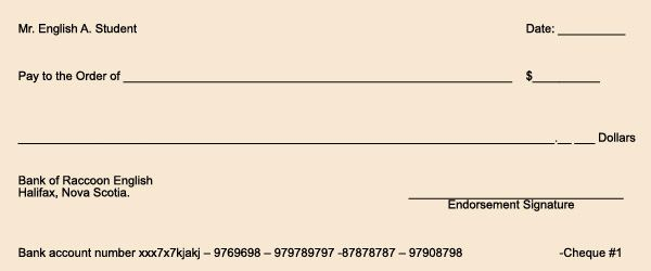 How to write a cheque - blank practise cheque