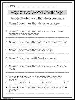 Adjective Word Challenge   Have some fun with parts of speech! This is great activity to use after studying adjectives. Depending on the level of your students it may be completed independently or in pairs. It can be used for elementary aged students or ESL students of any age. Click on the image below to check it out! Enjoy!  A Classroom for All Seasons adjectives ESL first grade parts of speech second grade third grade