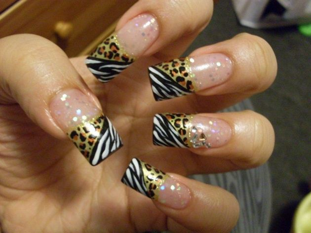 zebraleopard nail design