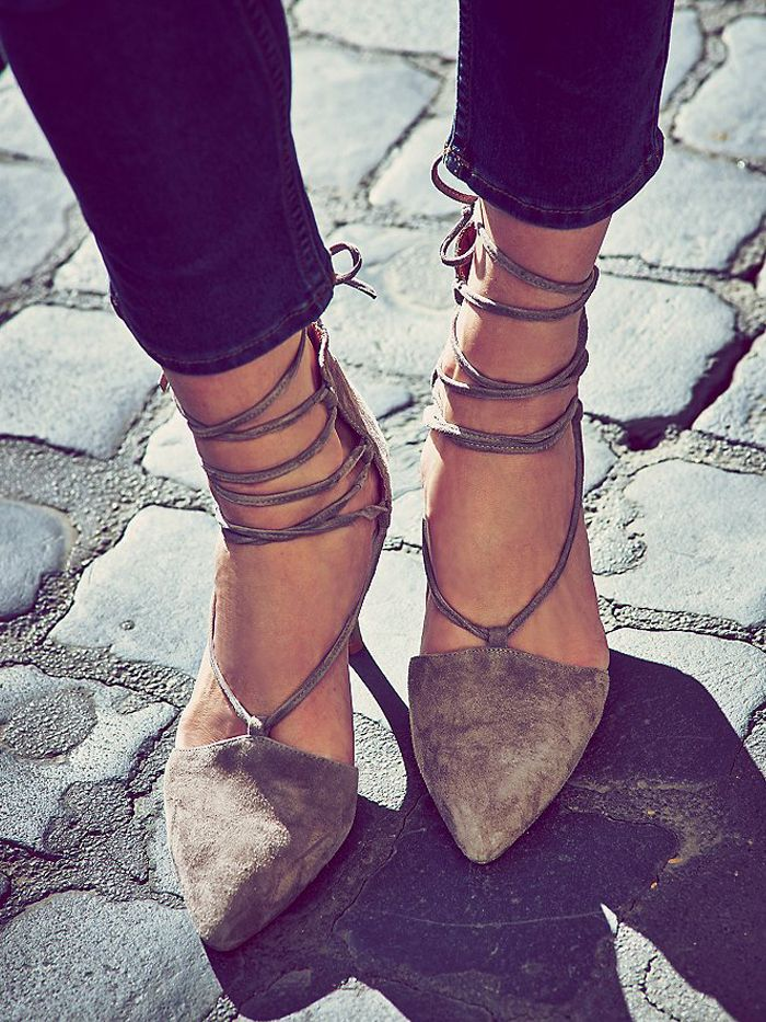 Free People Berlin Heels // lace-up heels in grey