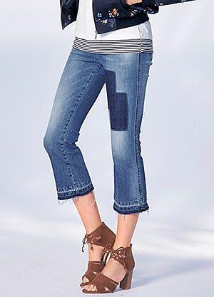 Frayed Hem Cropped Straight Leg Jeans #kaleidoscope #denim