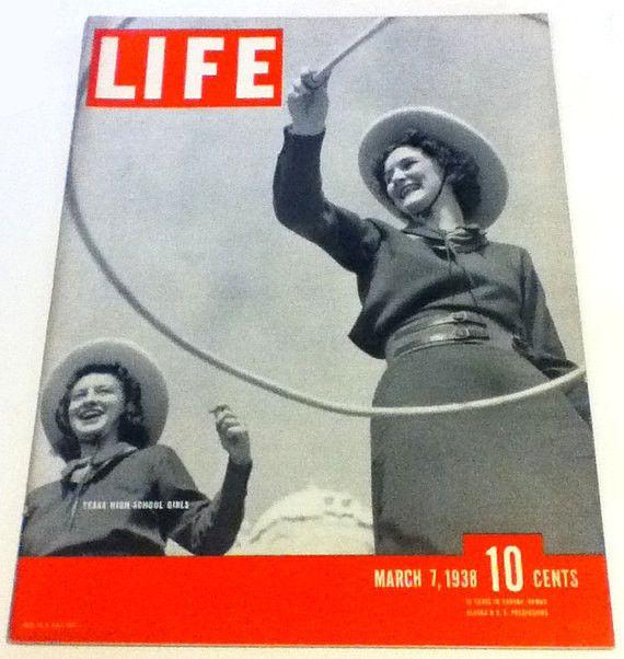 LIFE Magazine March 7 1938 Cowgirls NAZI German American Bund of New Jersey David O Selznik Wagners Ring Neville Chamberlain Anthony Eden