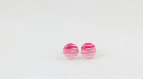 Pink Gradient Striped Circle Stud Earrings 8mm by BestFiveCentCoffee