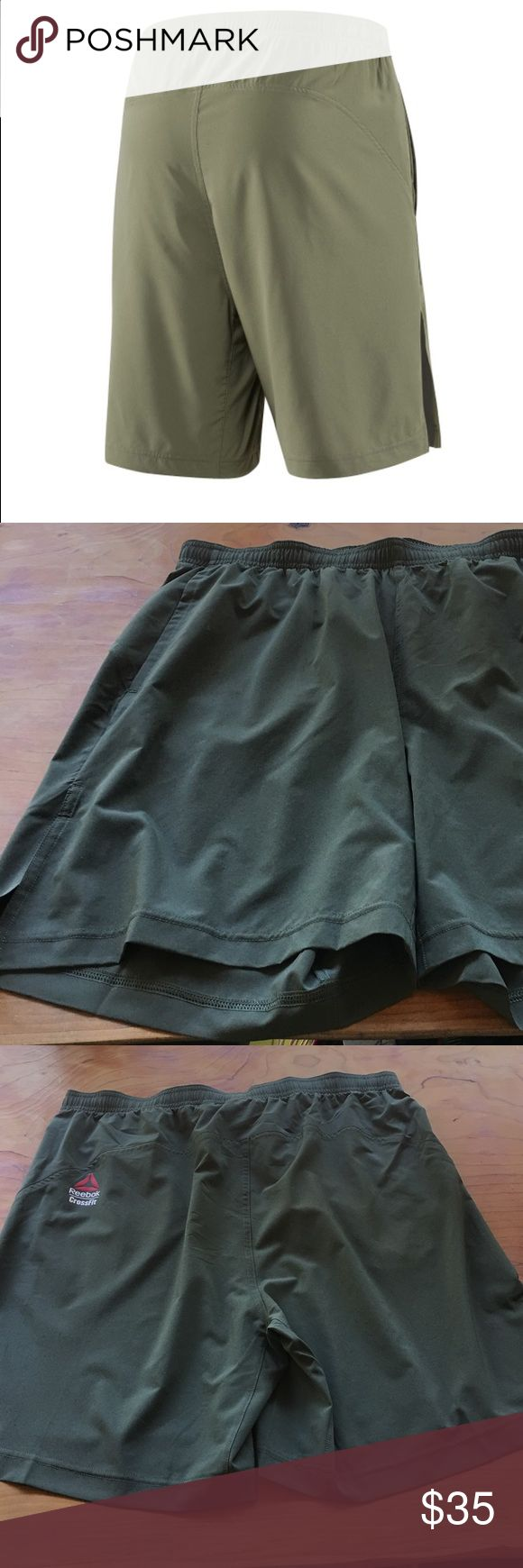Reebok CrossFit Austin 2 Short in Army Green Super lightweight workout short. Size large. Side pockets and slits on the side or easy movability. No tags but brand new and never worn. Reebok Shorts Athletic