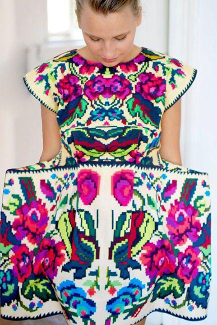 #silkroute folk inspired pattern on silk dress