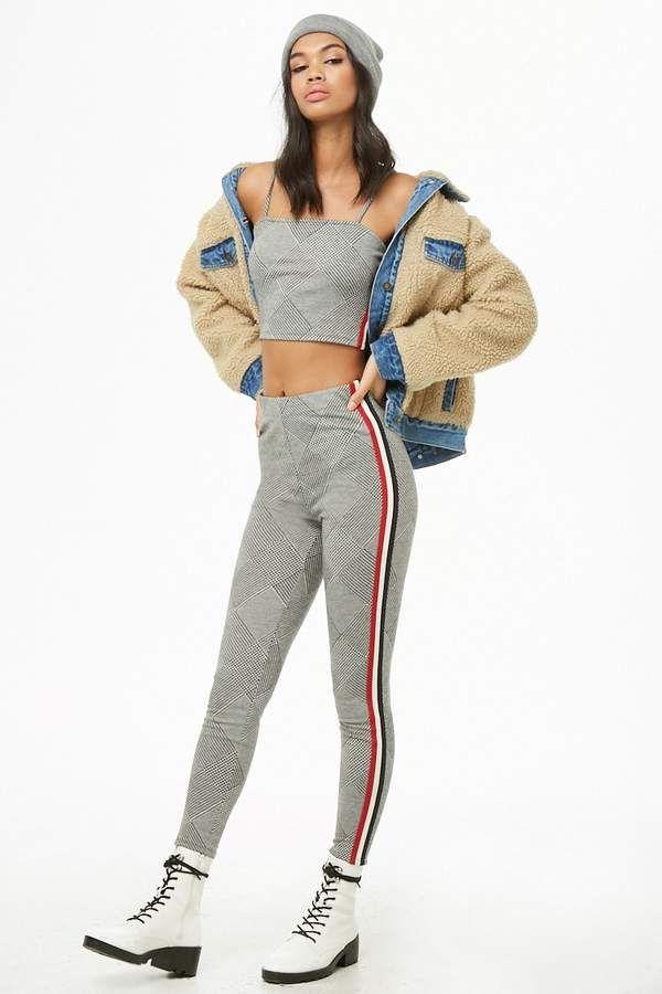 f8da82de83 Forever 21 Striped-Trim Glen Plaid Cropped Cami   Leggings Set ...