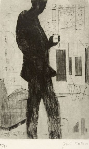 Jiri Balcar, A Man with Glass of Vodka,  Drypoint, Etching, Print