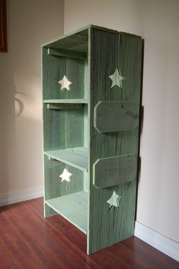 Wood Bookcase. CHOOSE COLOR & Side CUTOUTS Bookcase Wood Shelf Rustic Childs Room Furniture Wood Furniture. Kids Decor Green Wood Shelf