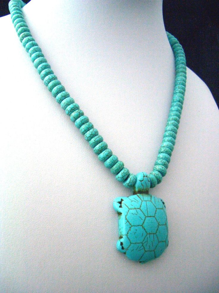 Ocean Blue TURQUOISE Abacus Gemstone with a Cute Turquoise-Carved Turtle, Nature…