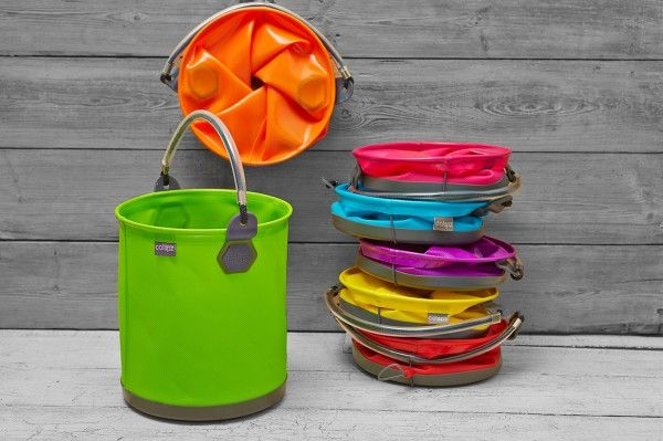 COLAPZ Bucket - Our buckets aren't the kind you trip over in the garage. They're cleverly designed to twist down flat and stay that way, with a sturdy elastic strap that doubles as a handy hanging loop.