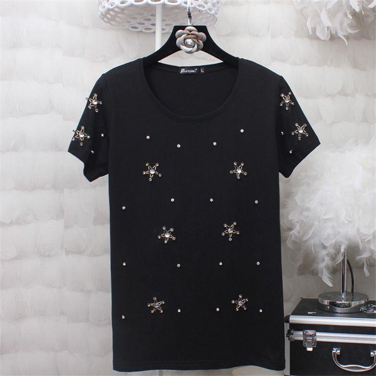 2017 Kobiety Lato Podstawowe T Koszula Moda Topy O Neck Krótki Rękaw Diament Bling Gwiazda Drukuj koszulka 72258 w        ramię (cm) biust (cm) talii Rozmiar (cm) długość (cm) Długość rękawa (cm)   S 35 80 - 60 15   M 36 84 - 62 15   L od T-Shirts na Aliexpress.com | Grupa Alibaba