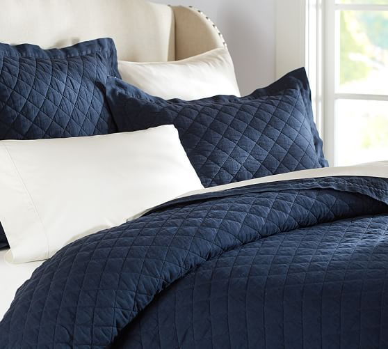 Belgian Linen Diamond Quilt Amp Sham Midnight Blue Pottery