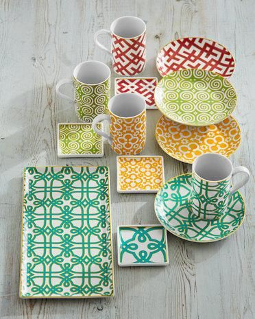 Bold colors and graphic patterns elevate our Portico dishware.