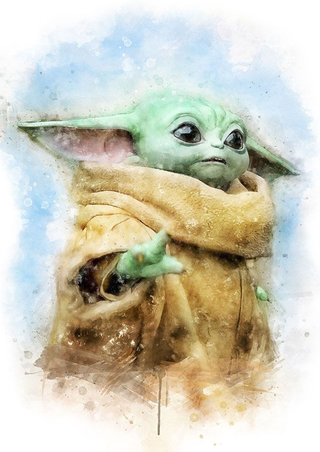Baby Yoda Watercolor Yoda Art Star Wars Drawings Star Wars Art