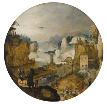 Sebastian Vrancx (Flemish, 1573 - 1647) Autumn: A Mountainous River Landscape With A Cooper Conversing With An Elegantly-dressed Gentleman In The Foreground,