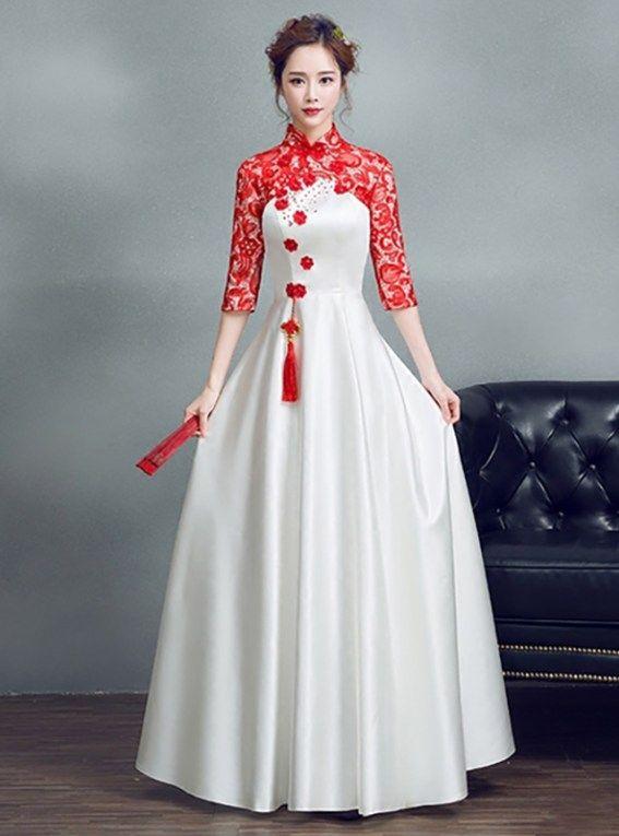 Red Lace Sleeve White Satin Aline Mandarin Collar Wedding Dress Chinese Wedding Dress Traditional Red White Wedding Dress Red Wedding Dresses