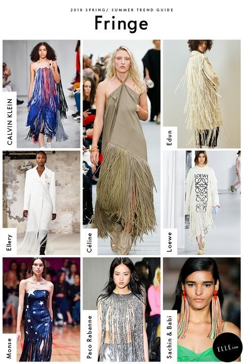 Spring 2018 Trend Report - ELLE.com's Comprehensive Guide To Spring 2018 Trends Fringe GETTY, IMAXTREE, COURTESY OF THE DESIGNER Fringe made its way in all forms this season, so there's a look for every level of commitment; We witnessed shredded tees s at Loewe, strips of sequins at Monse, and statement earrings at Sachin & Babi.