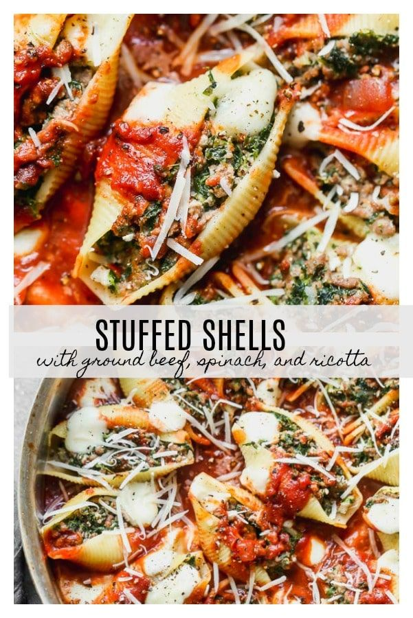 Stuffed Pasta Shells With Ground Beef And Spinach In 2020 Ground Beef And Spinach Stuffed Pasta Shells Ground Beef