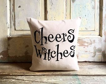 Pillow Cover   Cheers Witches, Halloween Pillow   Halloween Party    Halloween Decor   Fall