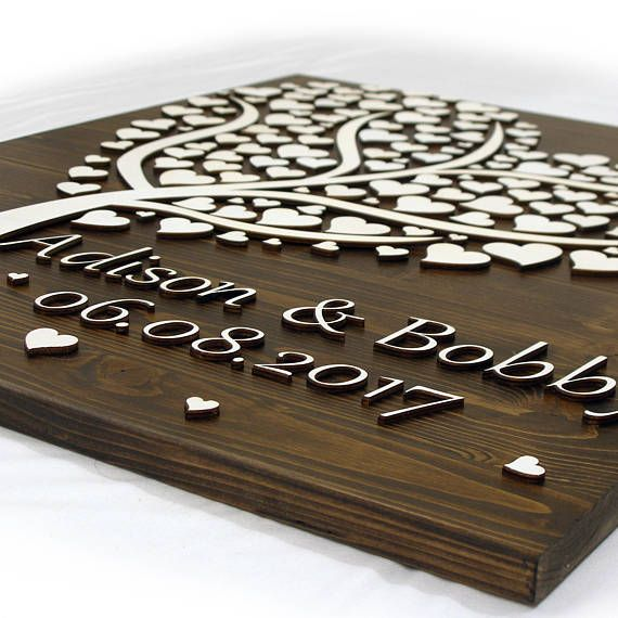Alternative Wedding guest book tree decorsinging3D wood