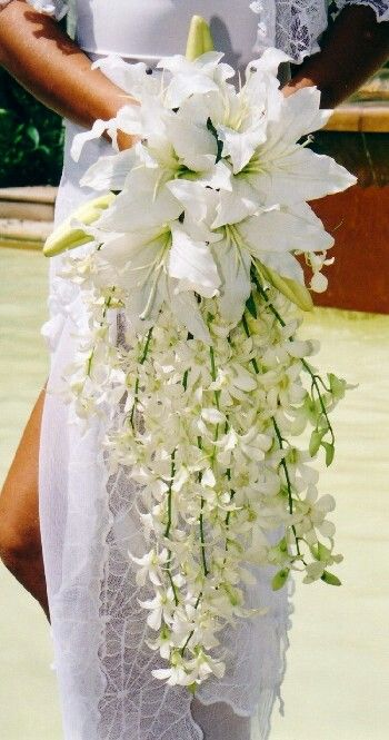 White Lily Cascading Wedding Bouquet