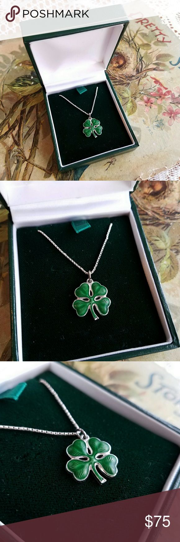 Green lucky shamrock necklace four leaf clover charm emerald green - Vintage Lucky Clover Necklace Enamel 925 Silver Silver Charms925 Silversterling Silverfour Leaf Clover Necklacegreen