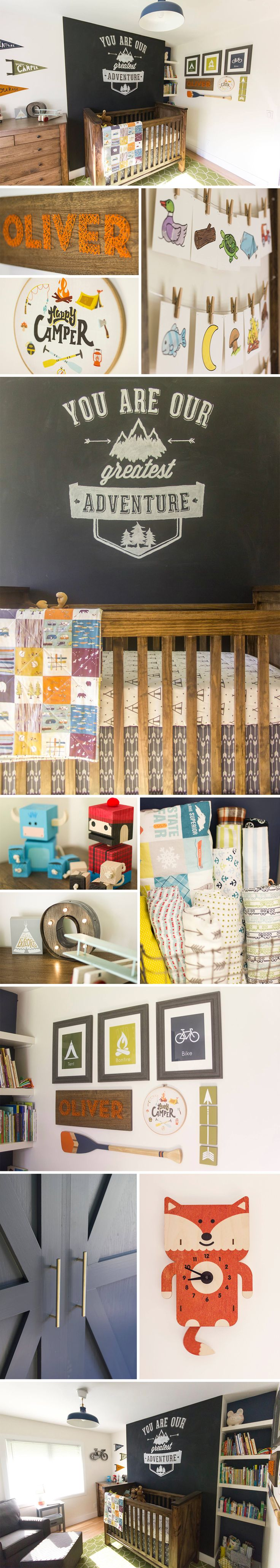 Baby boy camp themed nursery. Designed by GRAIN custom woodworks and Abbeyshouse Quilts