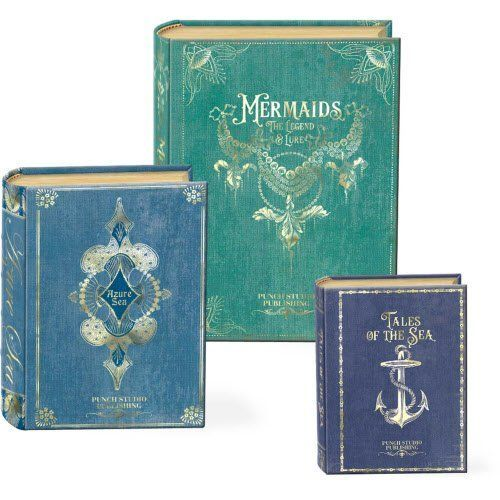 Large decorative gift boxes make for charming home decor. Also these decorative gift boxes are functional and they perform well Especially decorative nesting gift boxes. Great for key storage, jewelry storage, #gift #boxes and to use as home decorative accents.  #giftboxes    Punch Studio Set of 3 Small Nesting Book Boxes (Tales of the Sea)