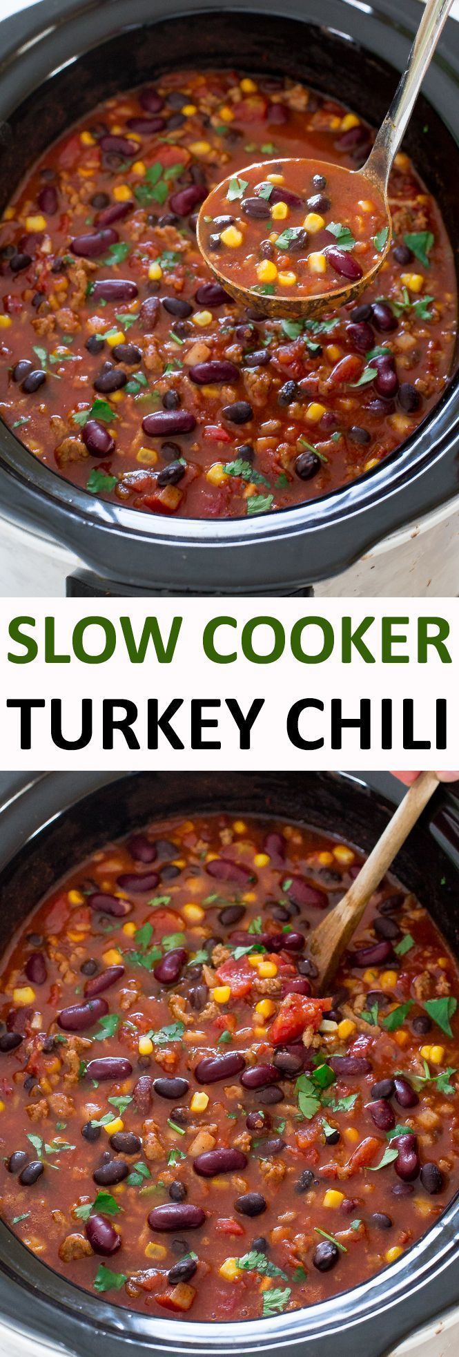Slow Cooker Turkey Chili. The BEST turkey chili made healthier and in the slow cooker! Hearty, thick, filling and full of flavor! | chefsavvy.com #recipe #turkey #chili #slow #cooker #crockpot #dinner