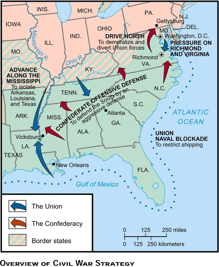 American Civil War Strategy Mapjpg Civil War Pinterest - Map of the us in the civil war