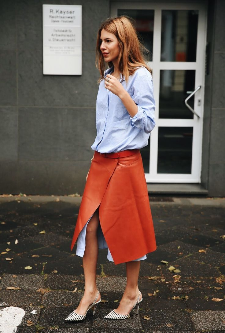 Blue shirt bought to life with a bright orange leather maxi skirt | Image via  fashiion-gone-rouge.tumblr.com