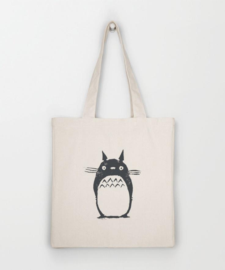 i . love . totoro. ++ Sketched Totoro Tote