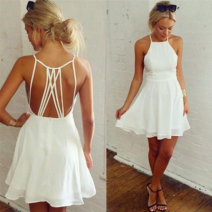 Chiffon backless high waist bear shoulder white dress is so cute to wear to prom, homecoming, cocktail and birthday party. White chiffon loose swing short club dress,always the best-seller in summer.