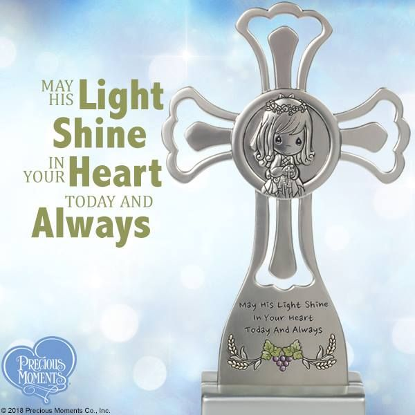 May His Light Shine In Your Heart Today And Always Tabletop Cross With Stand Girl Communion Cross Precious Moments Dolls Precious Moments