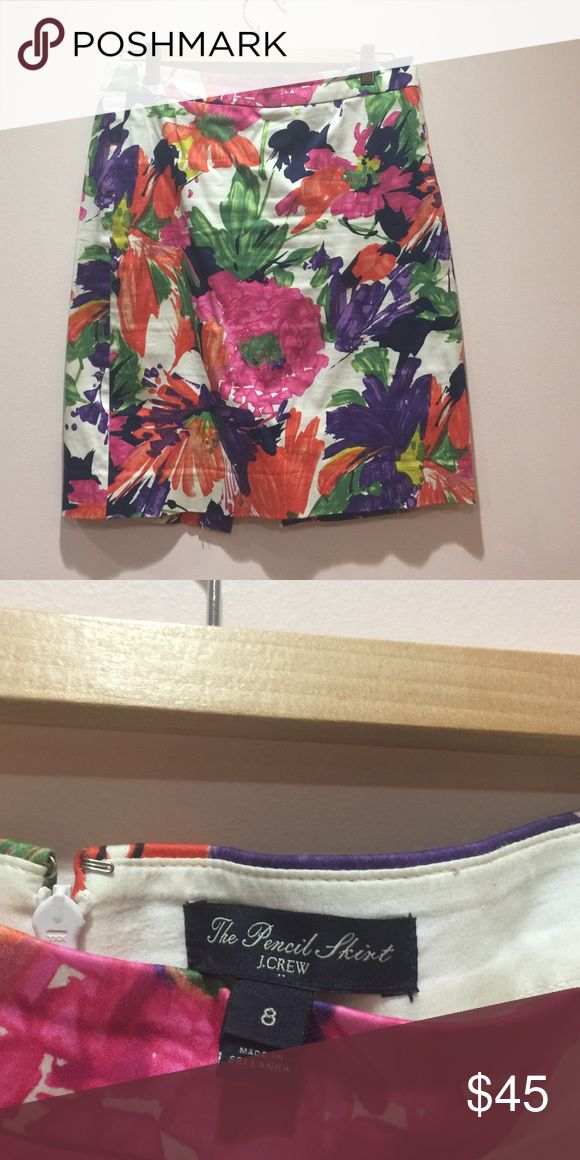 Bright Floral J.Crew pencil skirt Excellent condition hardly worn 100% cotton pencil skirt in bright colors - fucsia, orange, green and purple with accents of yellow. Flattering and easy to wear from day to evening. J. Crew Skirts Pencil