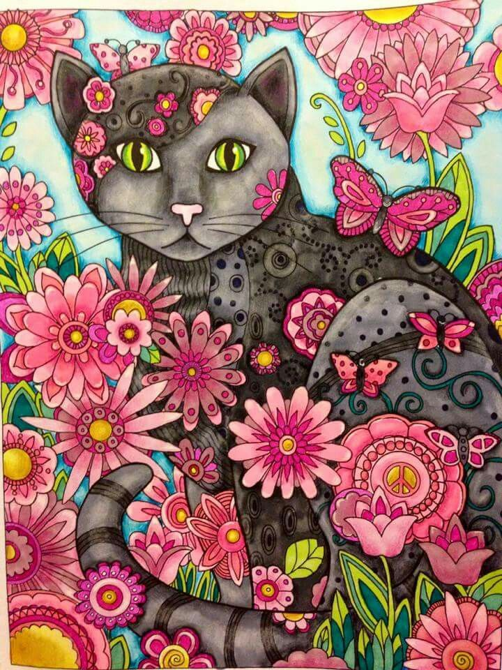 Adult Coloring Books Pages Cat Wallpaper Art Creative Cats Book Marjorie Sarnat Illustration Wall