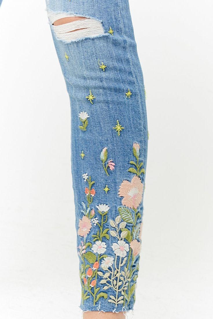 Floral embroidered denim overalls forever21 denim