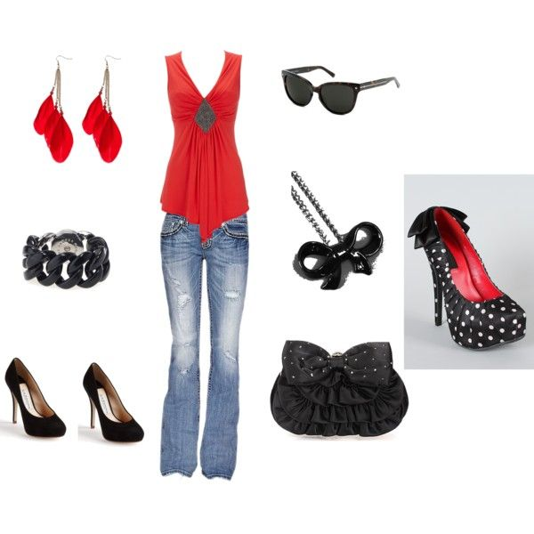 """love this website ! """"Red classy"""" by kelly-noel on Polyvore can't decide on shoes solid for classy polka dot for fun :)Pretend Wardrobes, Dots Shoes, Polka Dots, Classy Polka, Black And White, Red Classy, Polka Dot Shoes, Fuckin Shirts, Fashion Frenzy"""