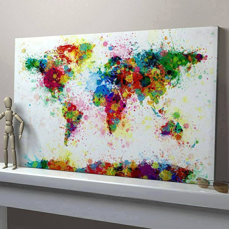 17 best world maps images on Pinterest World maps, Water colors - new world map canvas picture