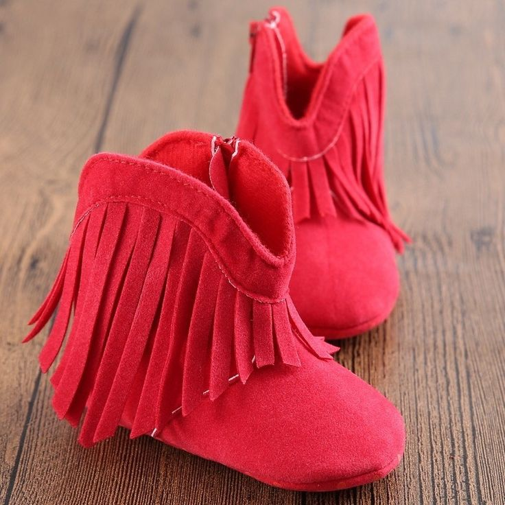 These adorable red suede fringe baby boots are perfect for your walker or non-walker. Sizes are as follows: Size 1-- 4.4 inches (0-6 months) Size 2-- 4.9 inches (6-12 months) Size 3-- 5.3 inches (12-1