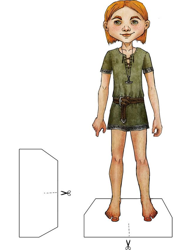 Example of Ragnar Lothbrok doll from Vikings of Legend and Lore Paper Dolls Book by Kiri Østergaard Leonard.